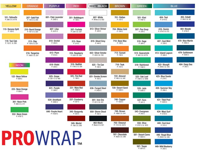 ProWrap guide wrapping thread comes in a wide variety of colors